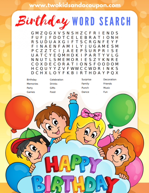 Free Printable Birthday Word Search For Kids