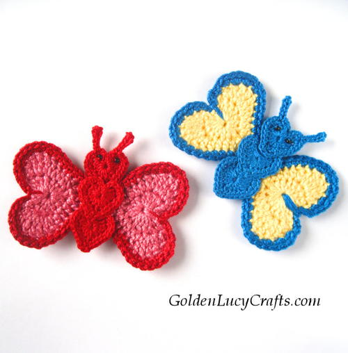 Crochet Heart Butterfly Applique