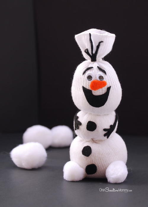DIY Olaf Inspired Sock Snowman