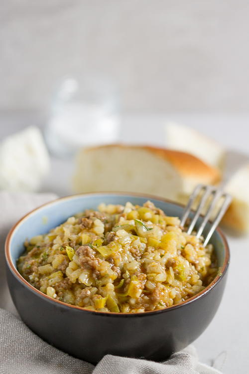Leek And Ground Beef Risotto