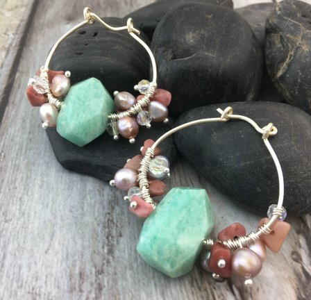 Gemstone-dangle Hoop Earrings