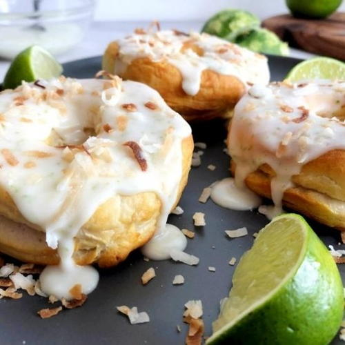 Air Fryer Toasted Coconut Lime Donuts