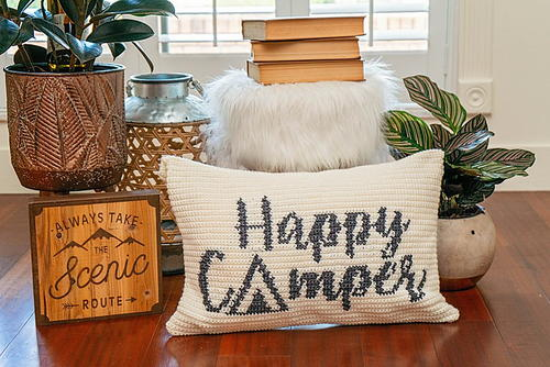 Happy Camper Crochet Pillow Cover