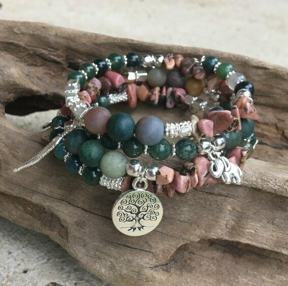 Charming Gemstone Memory Wire Bracelet