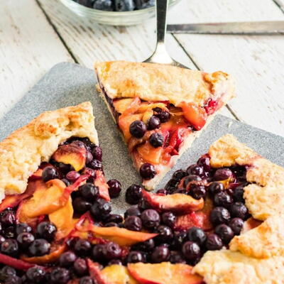 Rustic Peach Blueberry Galette