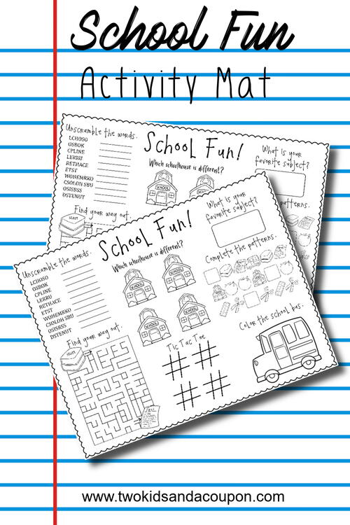 Free Back To School Printable Activities Place Mat
