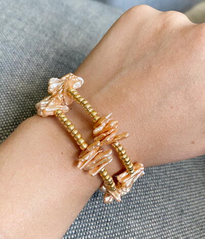 Beaded Bangle Pearl Bracelet