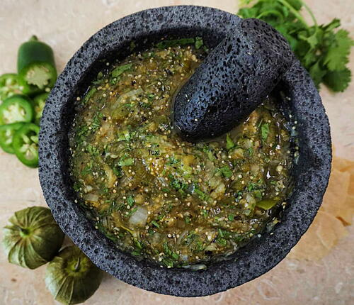 Spicy Molcajete Salsa Verde With Tomatillos