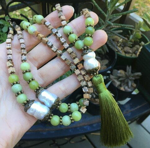 Jasper & Pearl Long Mala Necklace