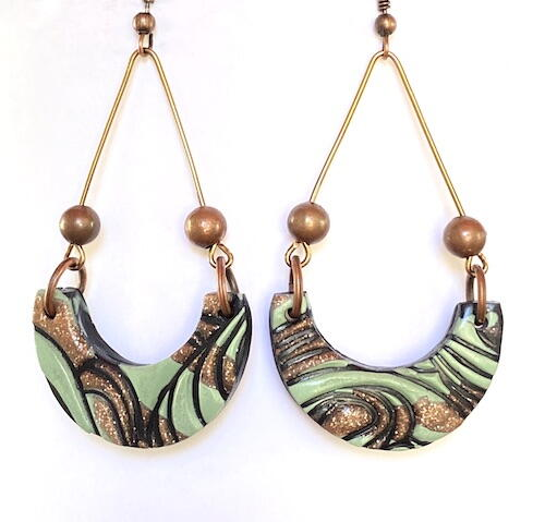 Folded Meringue Polymer Clay Earrings