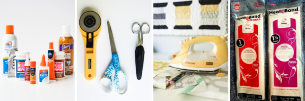 Image shows several no-sew tools and equipment including glue, scissors, an iron, and interfacing.