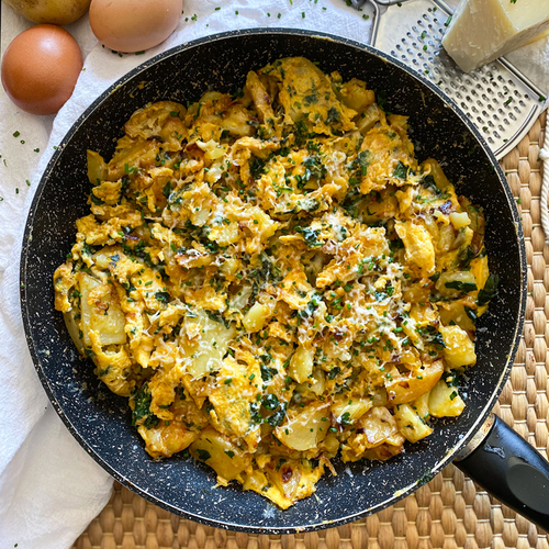 Smoky Scrambled Egg Skillet With Potatoes & Spinach
