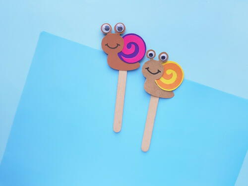 Our Cute Paper Snail Puppets Craft