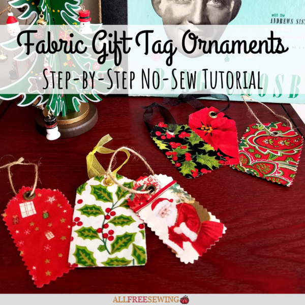 Fabric Christmas Gift Tag Ornaments
