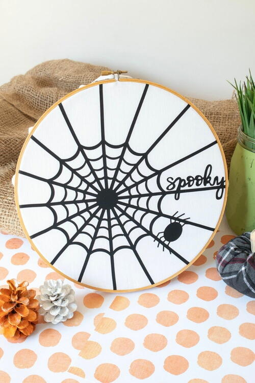 Spider Web Halloween Hoop Art