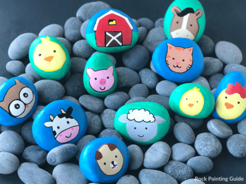 Farm Animal Painted Rocks