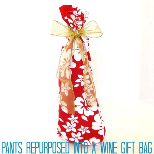 Repurposed Pants Made Into An Upcycled Wine Gift Bag