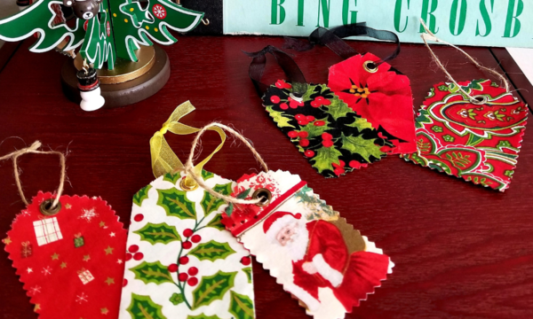 Fabric Christmas Gift Tag Ornaments (No-Sew Tutorial)