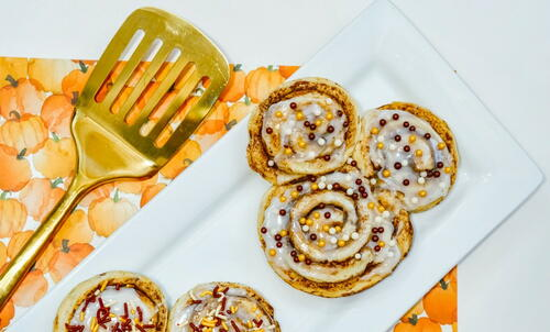Autumn Inspired Mickey Cinnamon Rolls
