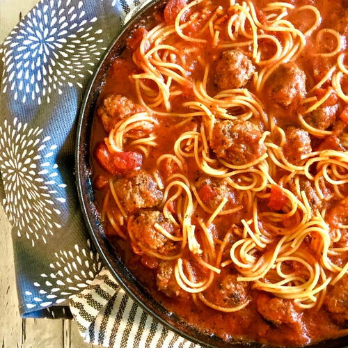Spaghetti And Meatballs Skillet Dinner