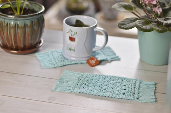 Tunisian Pyramid Lace Stitch Mug Rug