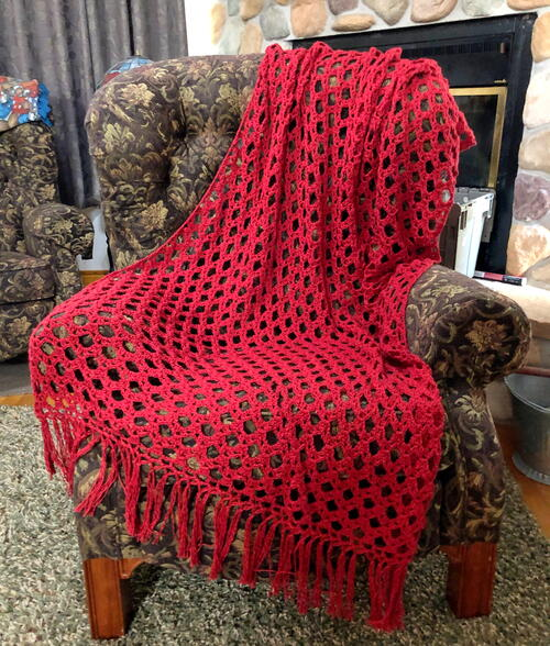 Simply Sophisticated Scarlet Crochet Throw
