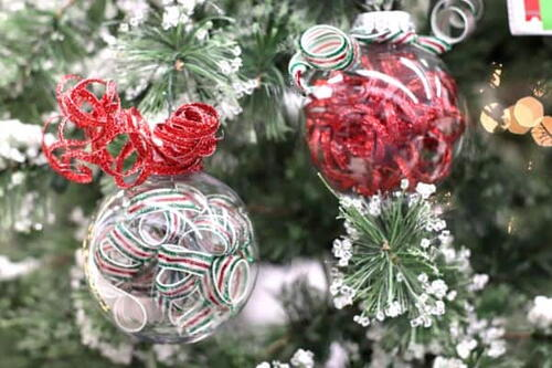 Easy Curled Ribbon Ornaments