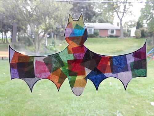 Bat Tissue Paper Suncatcher Halloween Craft