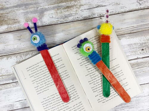 Easy Popsicle Stick Monster Bookmark Craft