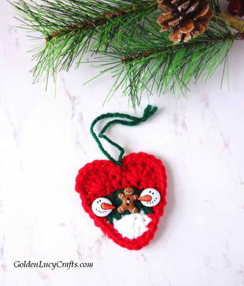 Crochet Christmas Candy Corn Heart