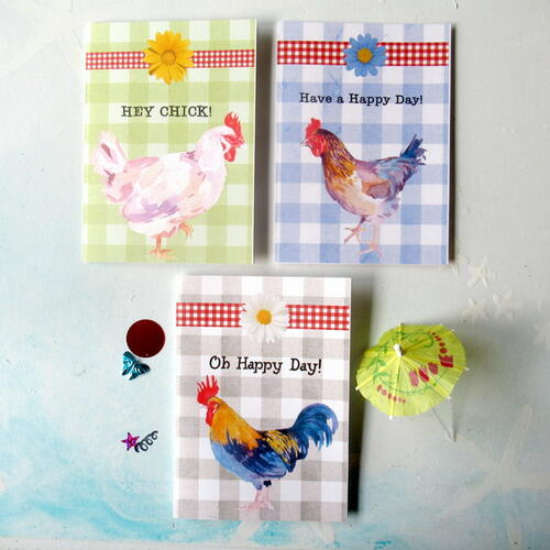 Free Printable Set Of Three Chicken Themed Greeting Cards