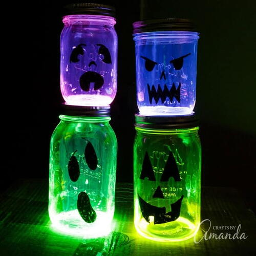 Glowing Jack O Lantern Jars