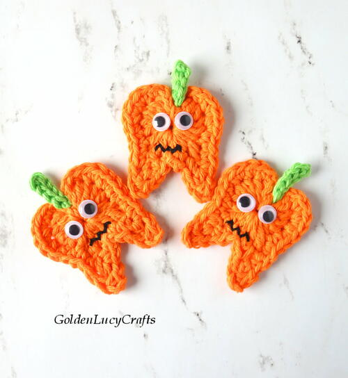 Crochet Halloween Tooth Pumpkin, Tooth'o Lantern Applique