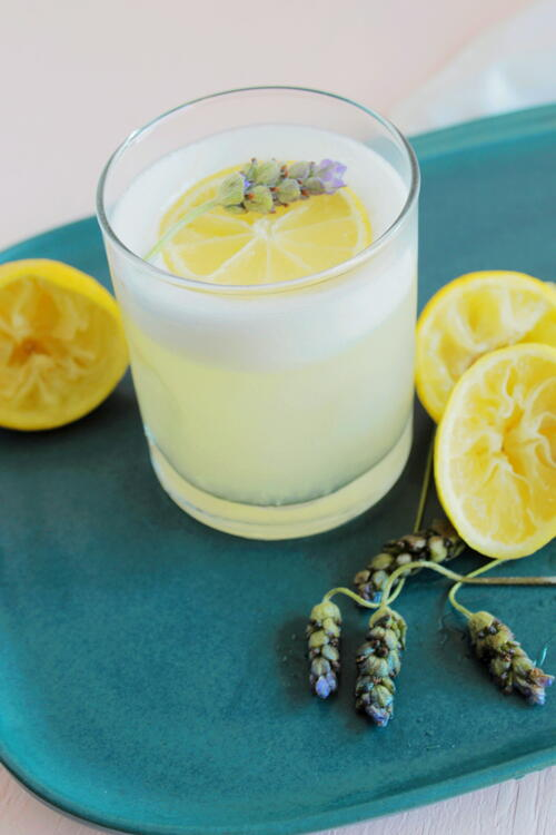 Lavender Lemon Pisco Sour Cocktail