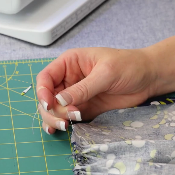 Gathering fabric with dental floss