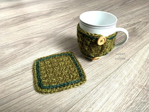 Northwest Coffee Sleeve & Cup Coaster Mug Rug