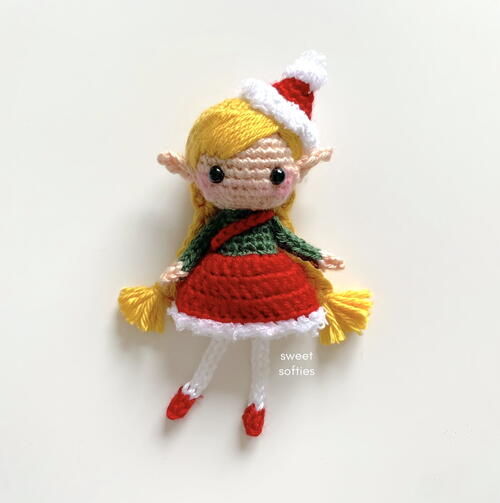 Christmas Elf Pixie Amigurumi Girl Doll