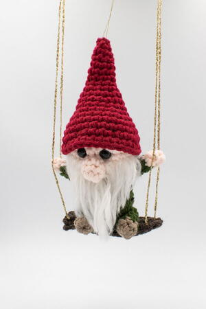 Gnome On A Swing Christmas Ornament