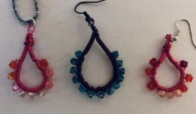 Coiled Wire Wrapped Earrings And Pendant