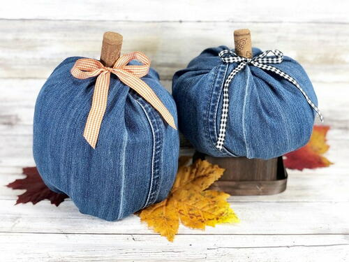 Denim Pumpkins With Recycled Jeans