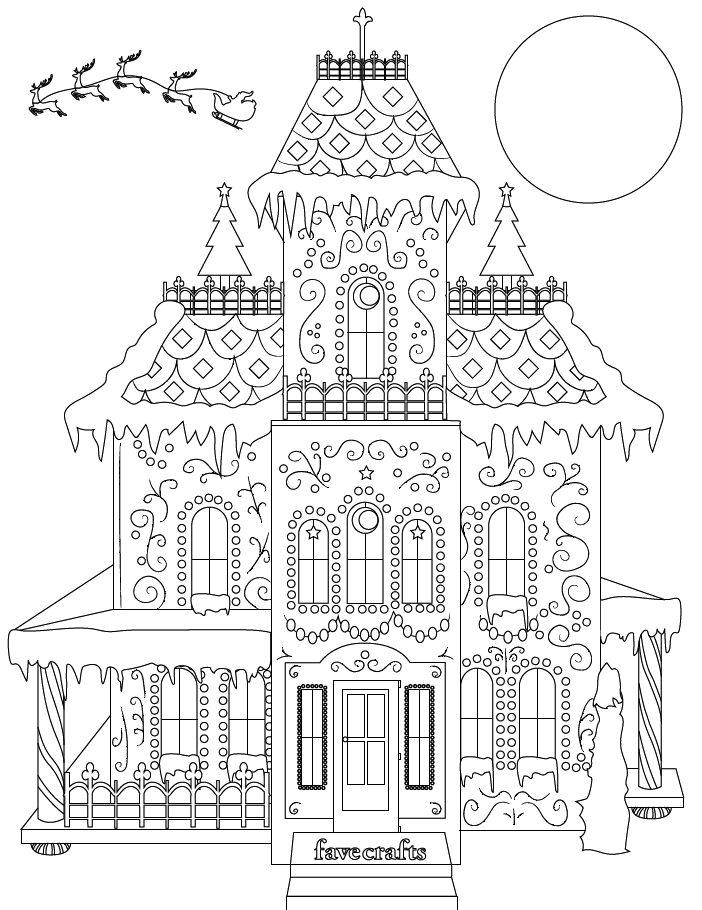 Breathtaking Gingerbread House Coloring Page PDF FaveCrafts.com
