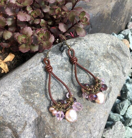 Leather Barrel Knot Earrings with Pearl Dangles