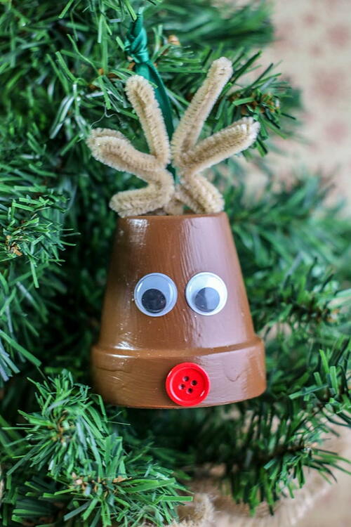 Reindeer Clay Pot Ornament Craft