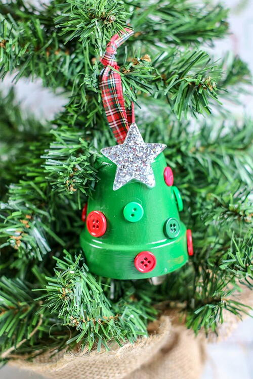 Christmas Tree Clay Pot Ornament Craft