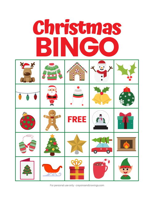 Christmas Bingo Game For Kids Free Printable
