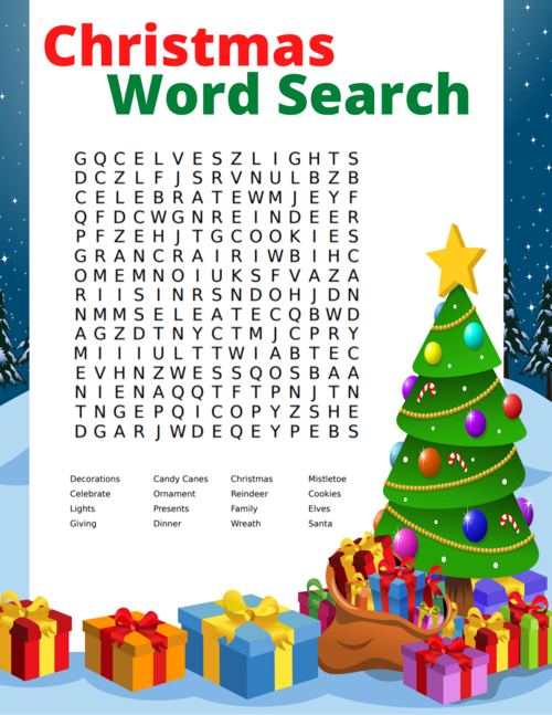 Free Christmas Word Search Printable For Kids And Adults