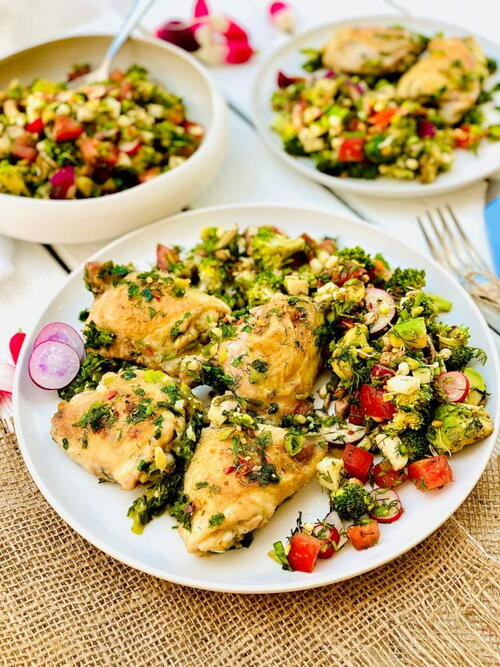 Easiest Chicken Thighs Recipe With Broccoli Salad