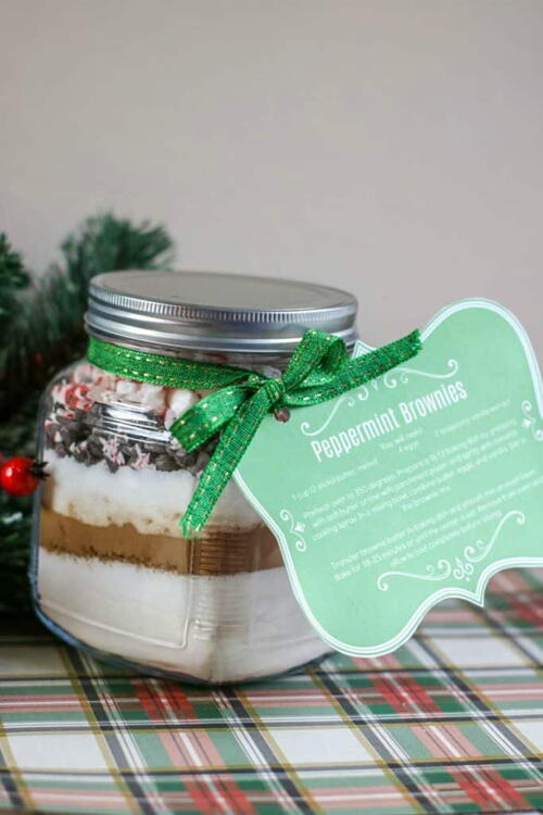 Christmas Peppermint Brownies Gift In A Jar