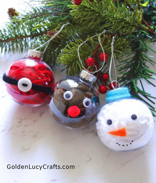 Yarn-filled Christmas Ornaments