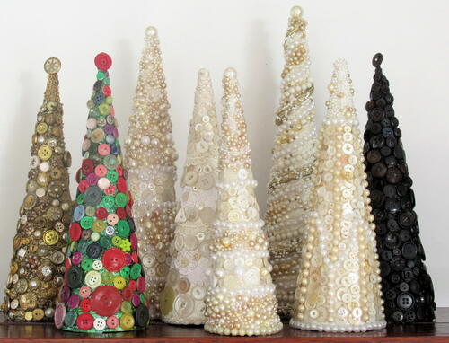 Button Decorated Christmas Trees